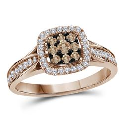 Round Brown Diamond Cluster Bridal Wedding Engagement Ring 1/2 Cttw 14kt Rose Gold