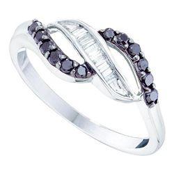 Round Black Color Enhanced Diamond Band Ring 1/3 Cttw 10kt White Gold