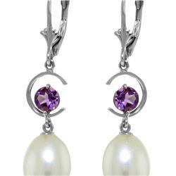 Genuine 9 ctw Pearl & Amethyst Earrings 14KT White Gold - REF-36K3V