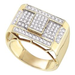 Mens Round Pave-set Diamond Rectangle Cluster Ring 1.00 Cttw 10kt Yellow Gold