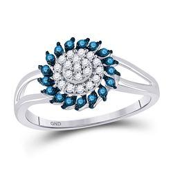 Round Blue Color Enhanced Diamond Circle Frame Cluster Ring 1/4 Cttw 10kt White Gold