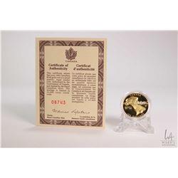 "Royal Canadian MInt 1992 Canadian $100.00, 14 karat 13.338 gram gold "" Montreal 1642-1992"" coin 8,74"
