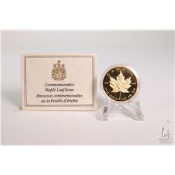 """Royal Canadian Mint 1989 Canadian $50.00, 9999 fine pure gold, 1 ounce """"Gold Maple Leaf"""" coin,"""