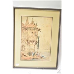 """Framed original watercolour, pen and ink painting titled """"Braubach on the Rhine"""" by artist J. White,"""
