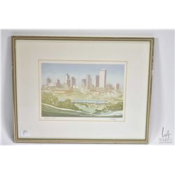 Framed cityscape titled Edmonton and pencil signed by artist Weber '72