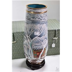 """Quality winter trees and building motif cloisonne vase 15"""" in height with wooden plinth and presenta"""