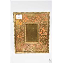 Antique gilt bronze and slag glass Tiffany Studios New York 948 picture frame with grape and leaf de
