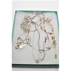 Tray lot of silver jewellery including six neck chains with pendants. two bracelets including one se