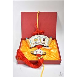Koji pottery wall hanging with red tassels in presentation box
