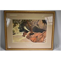 """Gilt framed watercolour painting titled """"Hospital Rock, Sequioa National Park"""" and pencil signed by"""