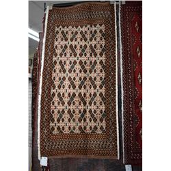 """100% handmade scatter rug in tones of taupe, cream, brown etc. 23"""" X 51"""""""
