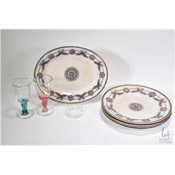 "Five antique English stoneware plates featuring William Brownhills ""Star of India"" plates circa 1860"