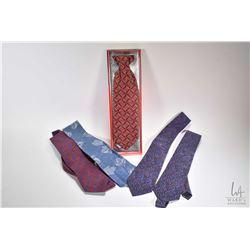 Five new men's silk ties including Pierre Cardin, FX by HY, ILS, purple paisley etc.