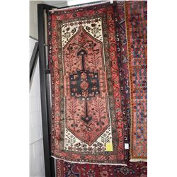 100% handmade Iranian Zanjan carpet with center medallion, overall geometric pattern with stylized f