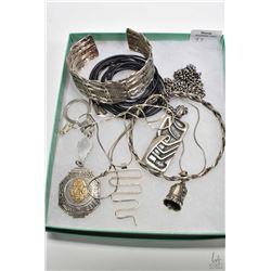 "Tray lot of silver jewellery including woven cuff bracelet, woven bangle, Aztec key chain, 24"" heavy"