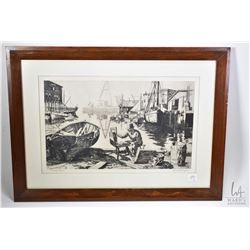 Three framed prints of pencil sketches originally done by American actor Lionel Barrymore (Drew's Gr