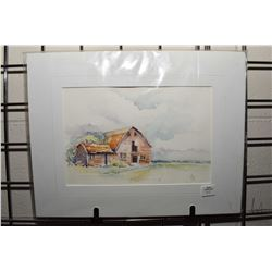 Unframed original watercolour painting of a rural barn scene initialled by artist and labelled on ve