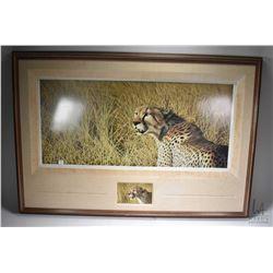 "Framed limited edition print titled ""Masai Mara Hunter-cheetah"" pencil signed by artist David N. Kit"