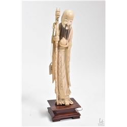 """Antique ivory figure of Shou Lao ( The god of Lengevity"""" on rosewood plinth 11"""" in height"""