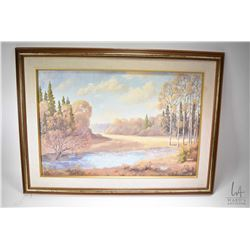 """Framed acrylic on board painting of a meadow lake scene signed by artist Meredith Evan '59, 20"""" X 30"""