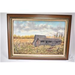 Framed oil on canvas painting of a rural out buidings with stokes signed by artist (Robert) R.D. McL