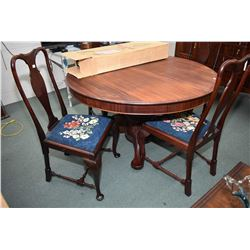 """Antique mahogany 54"""" split pedestal round dining table, six non-skirted leafs with four heavy cabrio"""