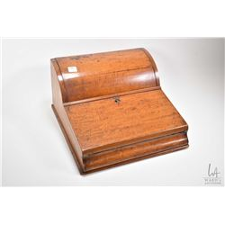 Antique mahogany writing slope with leather writing surface, fitted letter box and secret compartmen