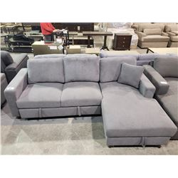 GREY SOFA WITH STORAGE COMPARTMENT & PULL OUT BED