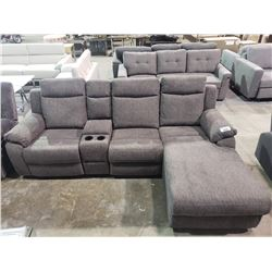 GREY RECLINING SOFA WITH CENTER STORAGE COMPARTMENT & CUP HOLDERS