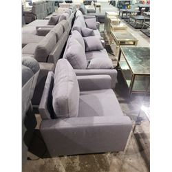 3 PIECE GREY SOFA SET WITH DECORATIVE PILLOWS