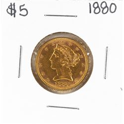 1880 $5 Liberty Head Eagle Gold Coin