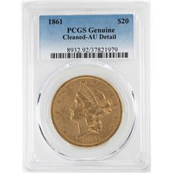 1861 $20 Liberty Head Double Eagle Gold Coin PCGS AU Details