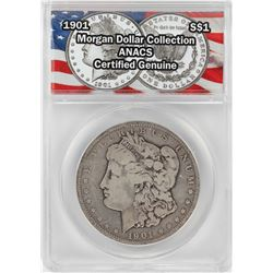 1901 $1 Morgan Silver Dollar Coin ANACS Certified Genuine