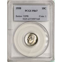 1950 Proof Roosevelt Dime Coin PCGS PR67
