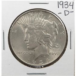 1934-D $1 Peace Silver Dollar Coin