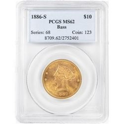 1886-S $10 Liberty Head Eagle Gold Coin PCGS MS62 Bass Collection