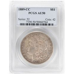 1889-CC $1 Morgan Silver Dollar Coin PCGS AU50