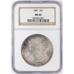 1881 $1 Morgan Silver Dollar Coin NGC MS66