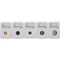 1957 (5) Coin Proof Set NGC Graded PF66RD/PF66/PF67