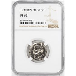 1939 Rev of 38' Proof Jefferson Nickel Coin NGC PF66