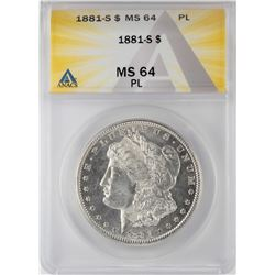 1881-S $1 Morgan Silver Dollar Coin ANACS MS64 PL
