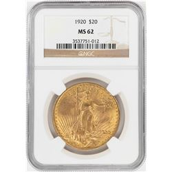 1920 $20 St. Gaudens Double Eagle Gold Coin NGC MS62