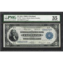 1918 $2 Battleship Federal Reserve Bank Note Cleveland Fr.758 Very Fine 35