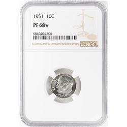 1951 Proof Roosevelt Dime Coin NGC PF68* Star
