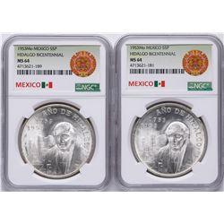 Lot of (2) 1953Mo Mexico Hidalgo Bicentennial 5 Pesos Silver Coins NGC MS64