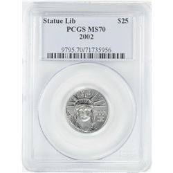 2002 $25 American Platinum Eagle Coin PCGS MS70