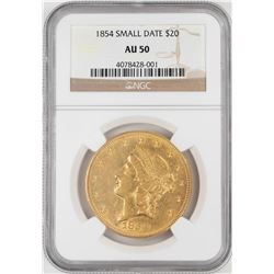 1854 Small Date $20 Liberty Head Double Eagle Gold Coin NGC AU50
