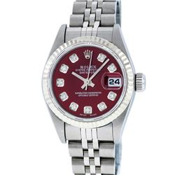 Rolex Ladies Stainless Steel Red Diamond Quickset Datejust Wristwatch
