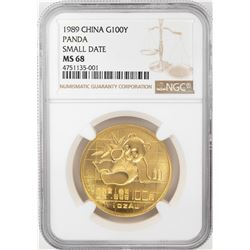 1989 Small Date China 100 Yuan Panda Gold Coin NGC MS68