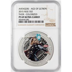 2015 Niue $2 Proof Avengers Age of Ultron Thor Silver Coin NGC PF69 Ultra Cameo